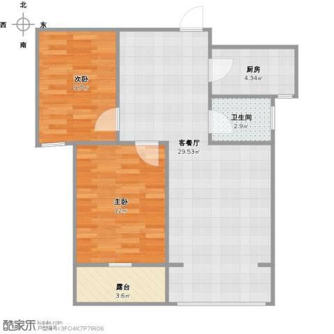 上城悦府2室1厅1卫1厨84.00㎡户型图