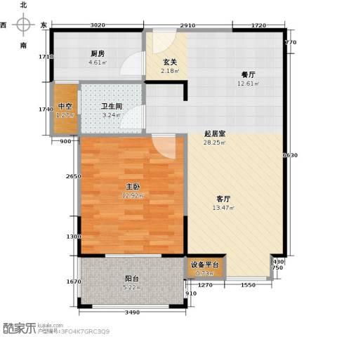 运河春天1室0厅1卫1厨61.00㎡户型图