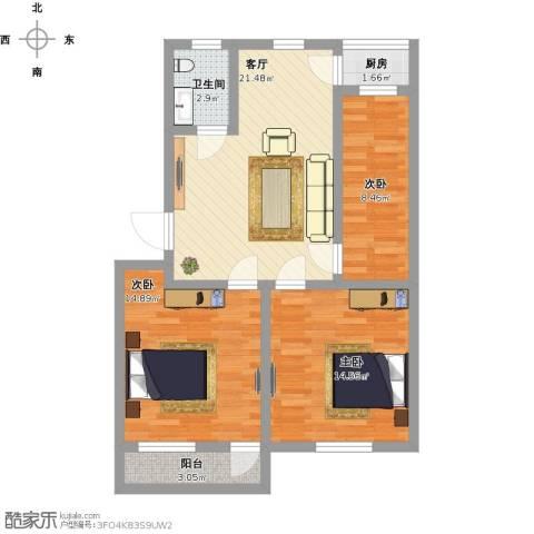 桃园新村3室1厅1卫1厨98.00㎡户型图