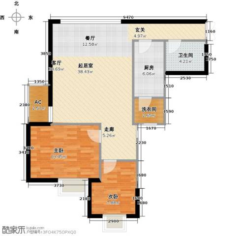 辰宇世纪城2室0厅1卫1厨104.00㎡户型图