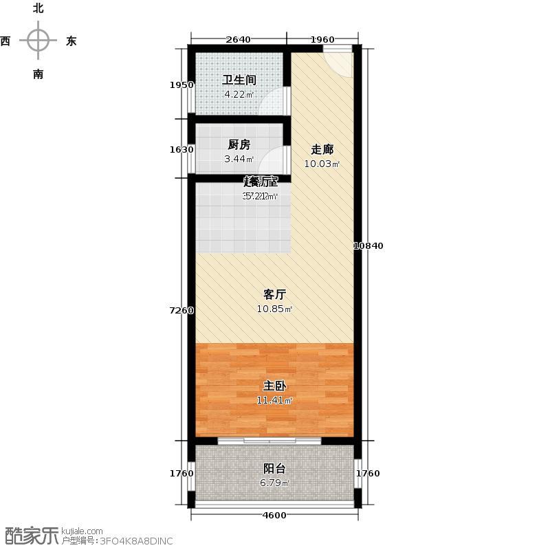 锦绣大厦70.63㎡11―1户型1室1厅1卫