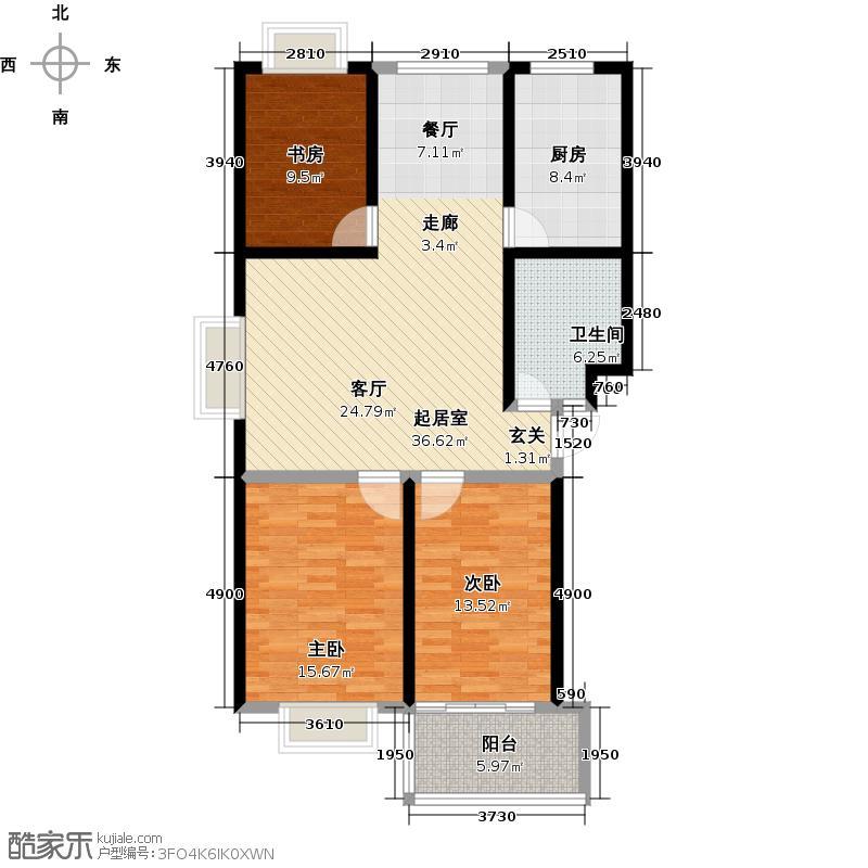 金都时代新城109.20㎡23#31# 三室两厅一卫户型3室2厅1卫