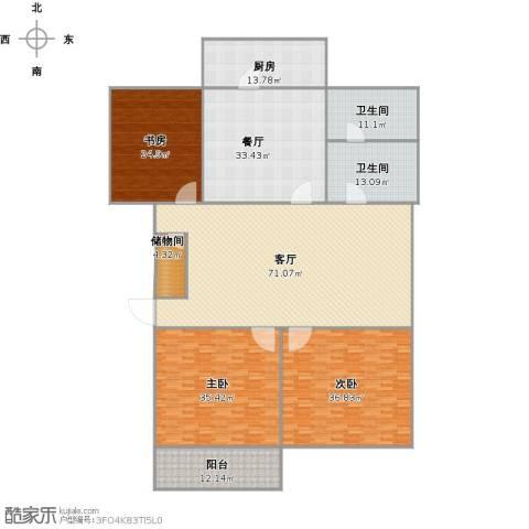 百花小区3室2厅2卫1厨335.00㎡户型图