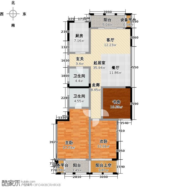 润和・万峰郡府121.00㎡A―2c奇数层户型3室2厅2卫