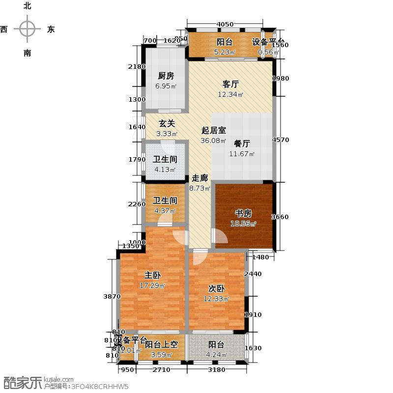 润和・万峰郡府121.00㎡A―2b偶数层户型3室2厅2卫