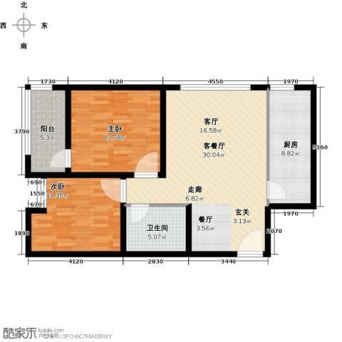 君泰财富广场2室1厅1卫1厨105.00㎡户型图