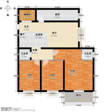 欣欣家园3室0厅2卫1厨129.00㎡户型图