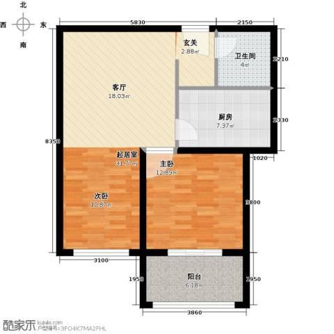 君泰财富广场1室0厅1卫1厨88.00㎡户型图