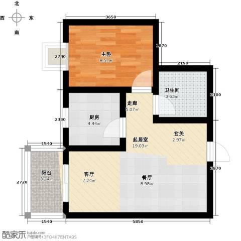 欣欣家园1室0厅1卫1厨46.00㎡户型图