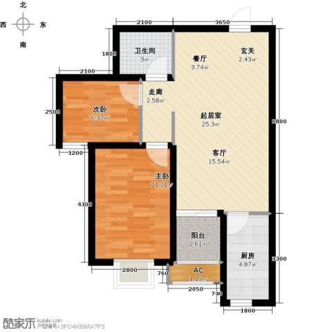 富景华庭2室0厅1卫1厨79.00㎡户型图