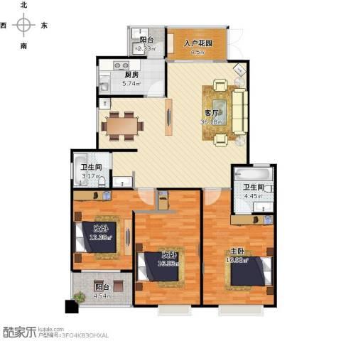 帝壹城3室1厅2卫1厨144.00㎡户型图