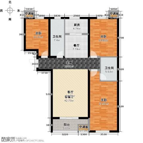 香溪茗苑3室1厅2卫1厨128.00㎡户型图
