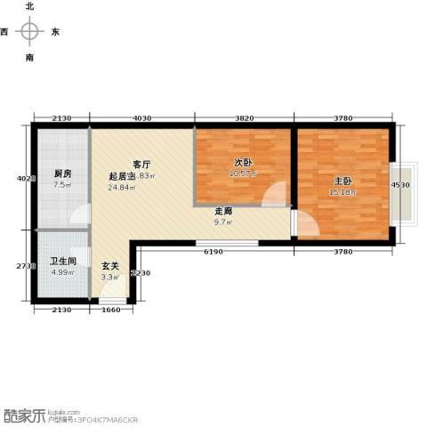 君泰财富广场2室0厅1卫1厨88.00㎡户型图