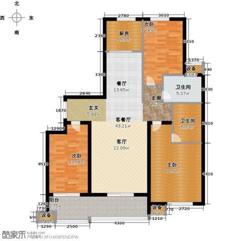 东方城3室1厅2卫1厨130.00㎡户型图