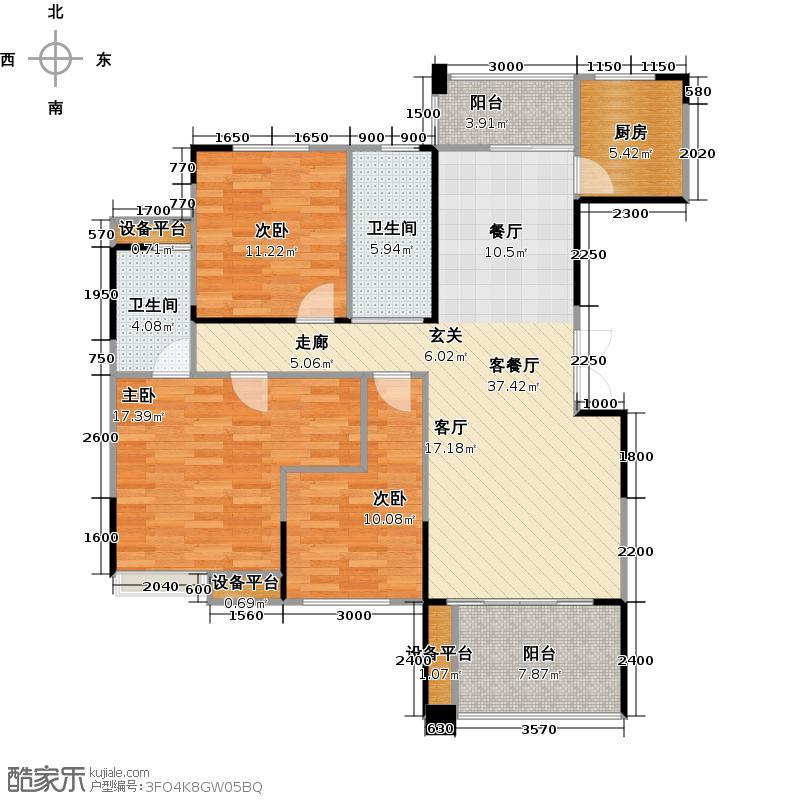 美利新世界126.20㎡E-2户型3室2厅2卫户型3室2厅2卫