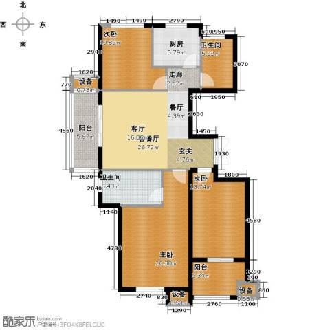 东方城3室1厅2卫1厨118.00㎡户型图