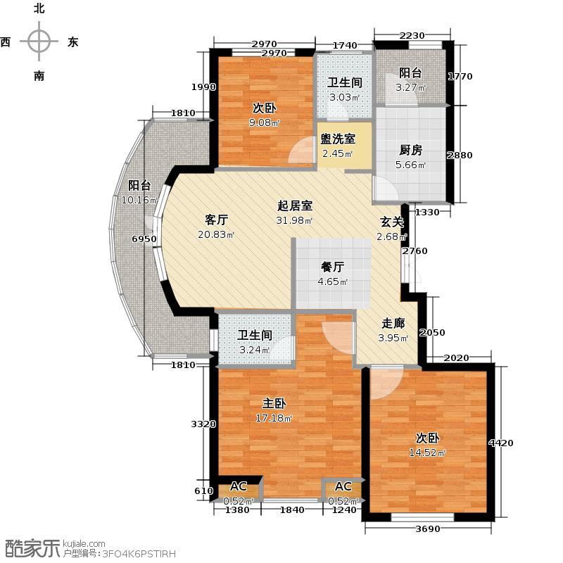 翠屏托乐嘉111.25㎡三房二厅 111.25-150.5平米 97套户型