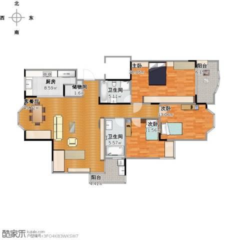 华立星洲花园3室1厅2卫1厨163.00㎡户型图