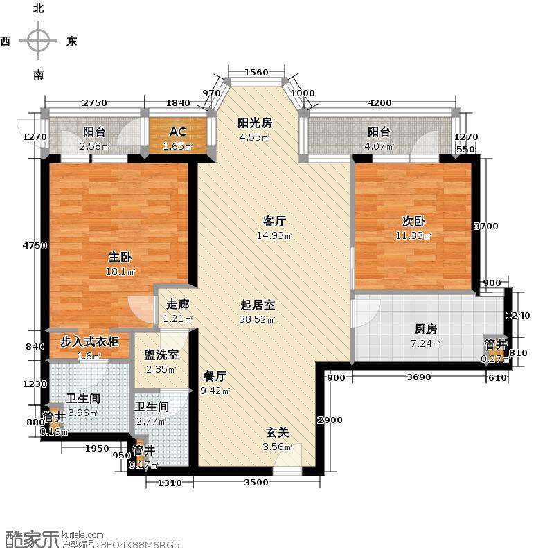 时代帝景129.00㎡3号楼C户型二室二厅二卫户型2室2厅2卫