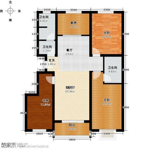 博雅A区3室1厅3卫1厨127.00㎡户型图