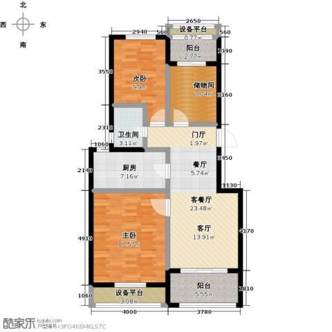 牧龙湖壹号2室1厅1卫1厨119.00㎡户型图