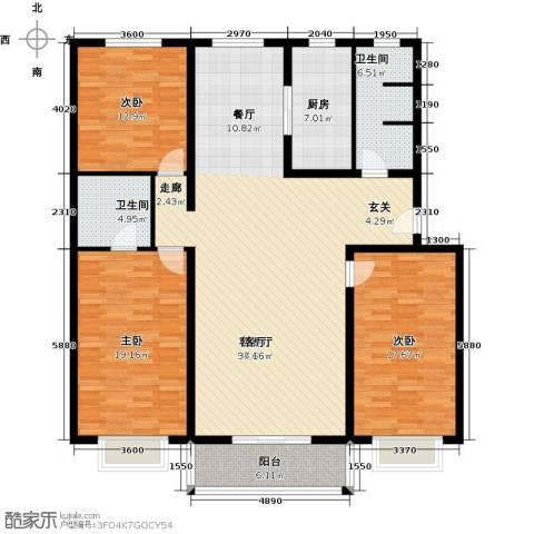 博雅A区3室1厅2卫1厨154.00㎡户型图