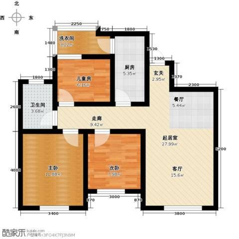 麓城3室0厅1卫1厨100.00㎡户型图