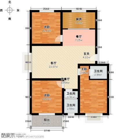 博雅A区3室1厅3卫1厨120.00㎡户型图