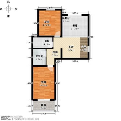 博雅A区2室1厅1卫1厨85.00㎡户型图