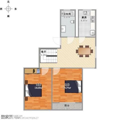 梁湖家园2室1厅1卫1厨90.00㎡户型图