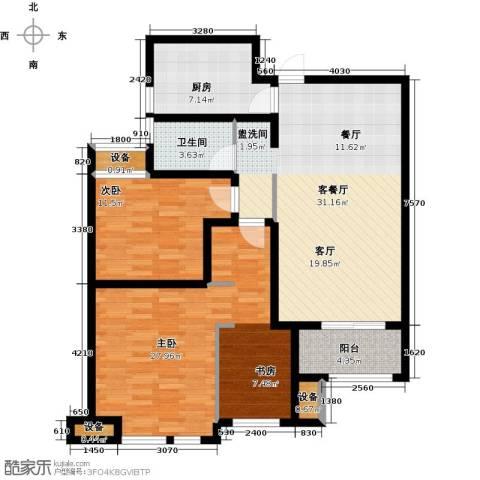 绿地外滩1号2室1厅1卫1厨101.36㎡户型图