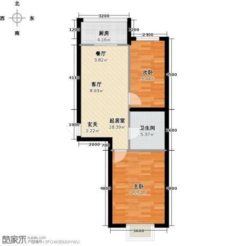 富景华庭2室0厅1卫1厨75.00㎡户型图