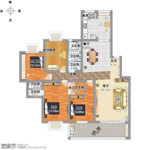 普瑞花园3室1厅5卫1厨222.00㎡户型图