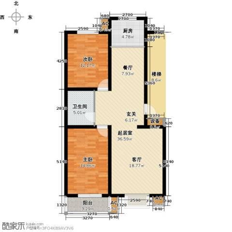 富景华庭2室0厅1卫1厨90.00㎡户型图