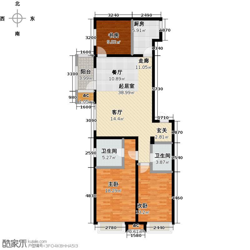 万科城139.00㎡D1三室两厅两卫-139㎡户型3室2厅2卫