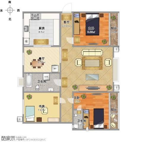 香格里拉3室2厅2卫1厨97.00㎡户型图