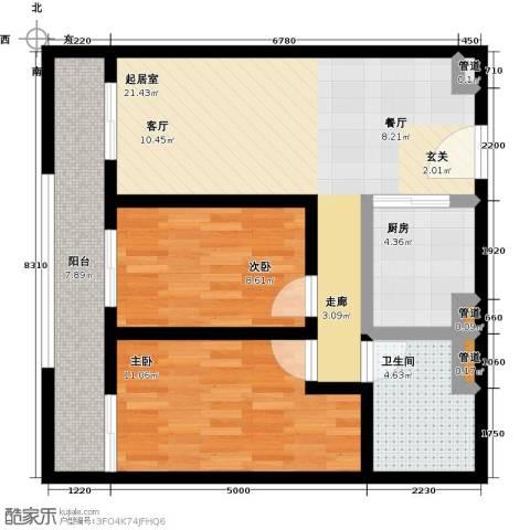 海吉星星世界2室0厅1卫1厨88.00㎡户型图