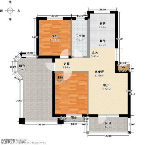 鲁能东方优山美地2室1厅1卫0厨93.00㎡户型图