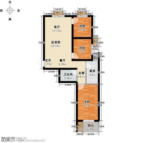 富景华庭3室0厅1卫1厨102.00㎡户型图