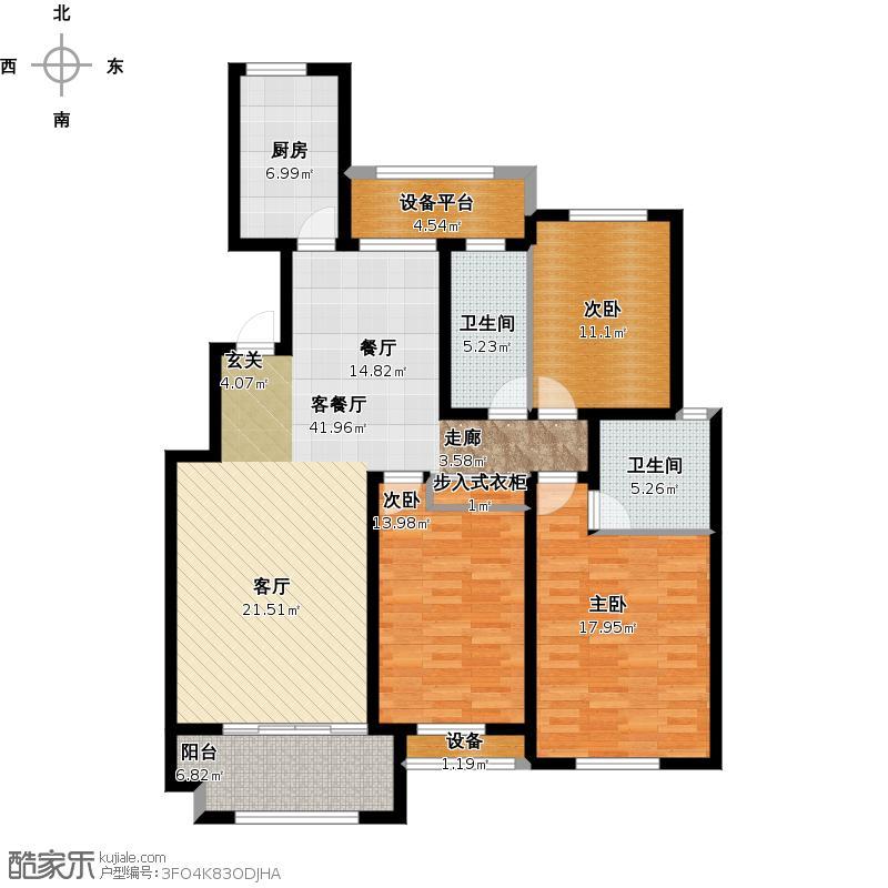 8伟星金域华府140平方三室两厅J户型图