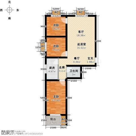 富景华庭3室0厅1卫1厨105.00㎡户型图
