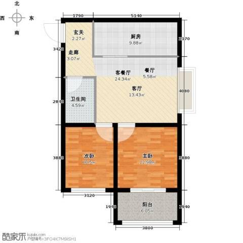 君泰财富广场2室1厅1卫1厨97.00㎡户型图