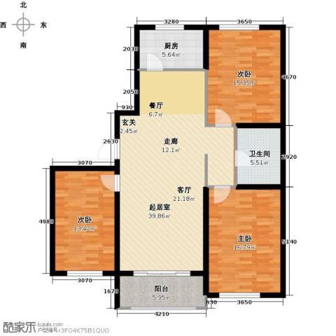 紫金湾3室0厅1卫1厨114.00㎡户型图