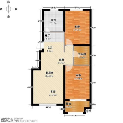 紫金湾2室0厅1卫1厨91.00㎡户型图