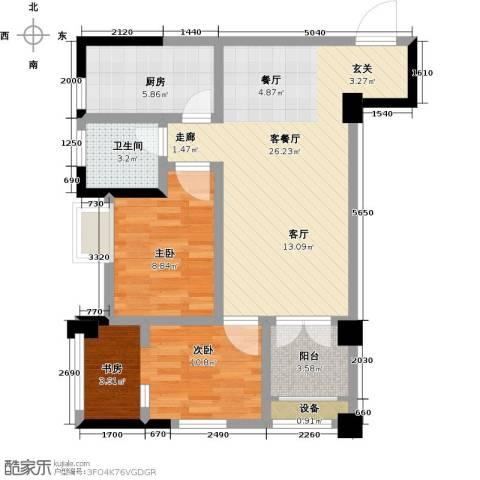 九坤翰林苑2室1厅1卫1厨70.00㎡户型图