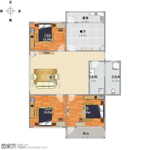 回民小区3室2厅2卫1厨152.00㎡户型图