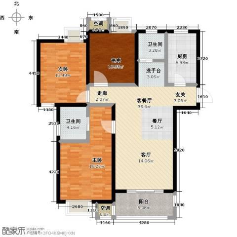 牧龙湖壹号3室1厅2卫1厨147.00㎡户型图
