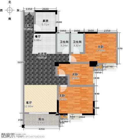 桂林翰林轩3室0厅2卫1厨126.00㎡户型图