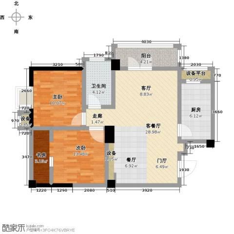 九坤翰林苑2室1厅1卫1厨81.00㎡户型图