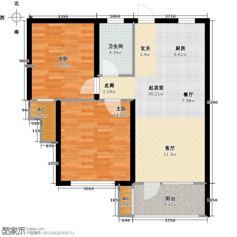 翠屏托乐嘉77㎡2室2厅1厨1卫B户型图户型